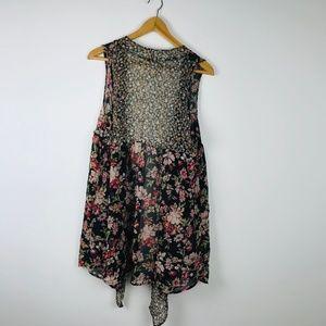 Xhilaration Jackets & Coats - Boho Floral Sleeveless Cover Vest Kimono Wrap S/M